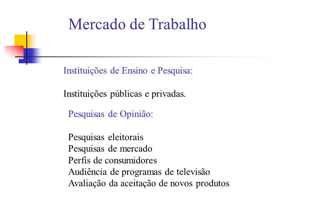 Mercado de Trabalho Instituições de Ensino e Pesquisa: Instituições públicas e privadas. Pesquisas de Opinião: Pesquisas eleitorais Pesquisas de merca