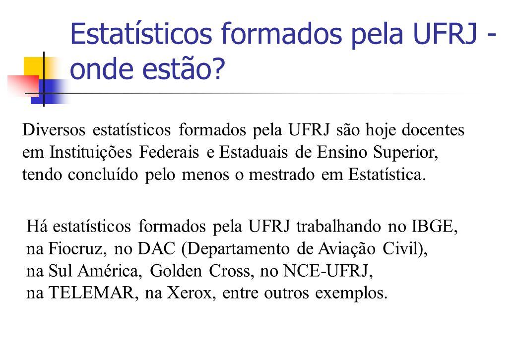 Estatísticos formados pela UFRJ - onde estão? Diversos estatísticos formados pela UFRJ são hoje docentes em Instituições Federais e Estaduais de Ensin