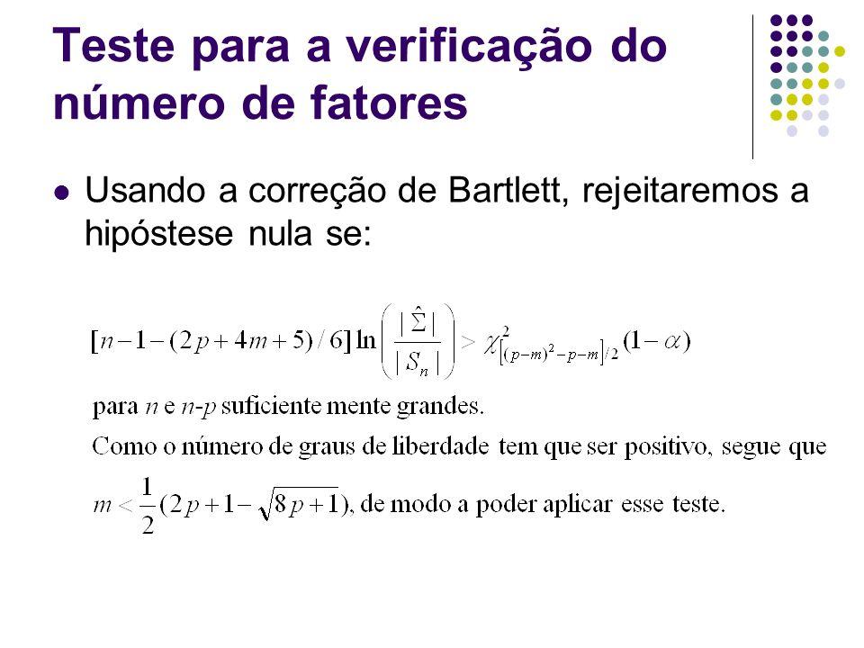 Teste para a verificação do número de fatores Usando a correção de Bartlett, rejeitaremos a hipóstese nula se: