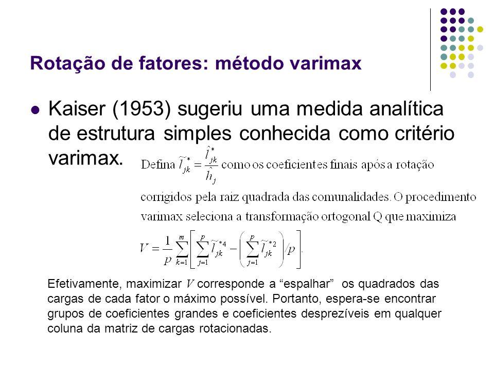 Rotação de fatores: método varimax Kaiser (1953) sugeriu uma medida analítica de estrutura simples conhecida como critério varimax. Efetivamente, maxi