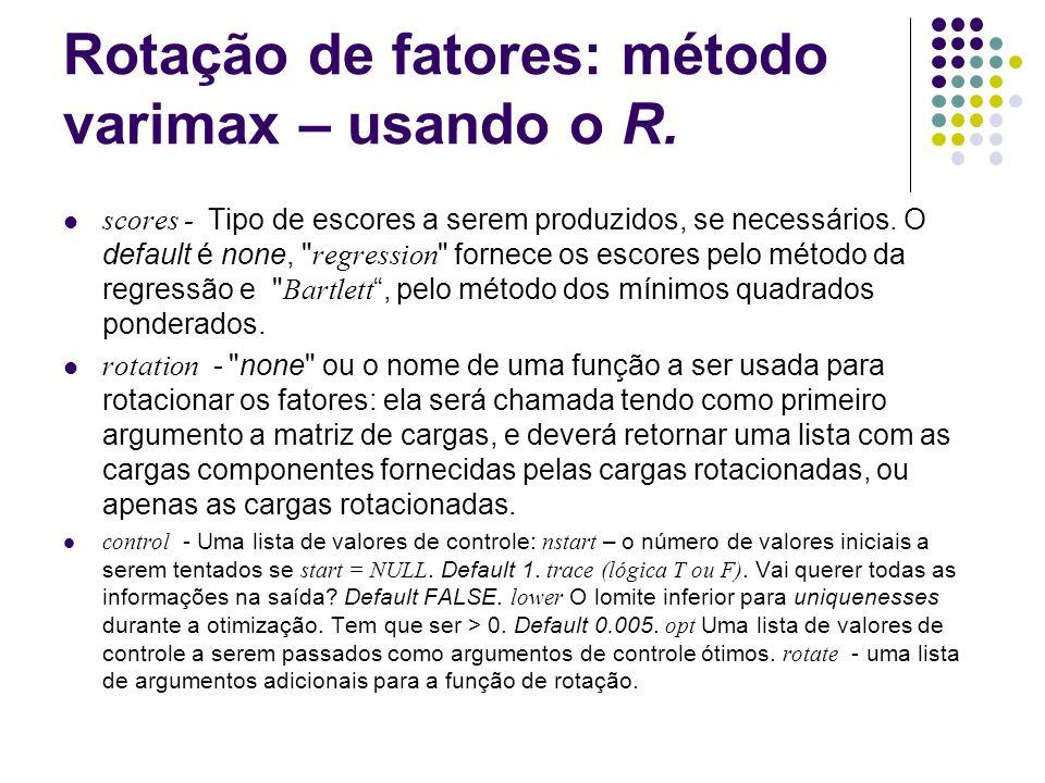 Rotação de fatores: método varimax – usando o R. scores - Tipo de escores a serem produzidos, se necessários. O default é none,