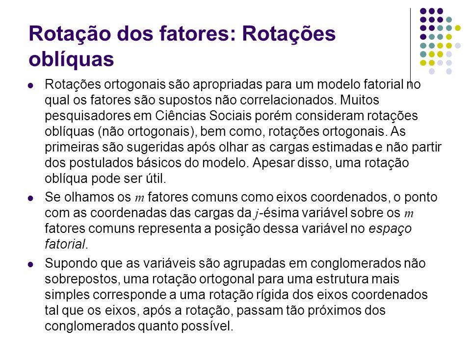 Rotação dos fatores: Rotações oblíquas Rotações ortogonais são apropriadas para um modelo fatorial no qual os fatores são supostos não correlacionados