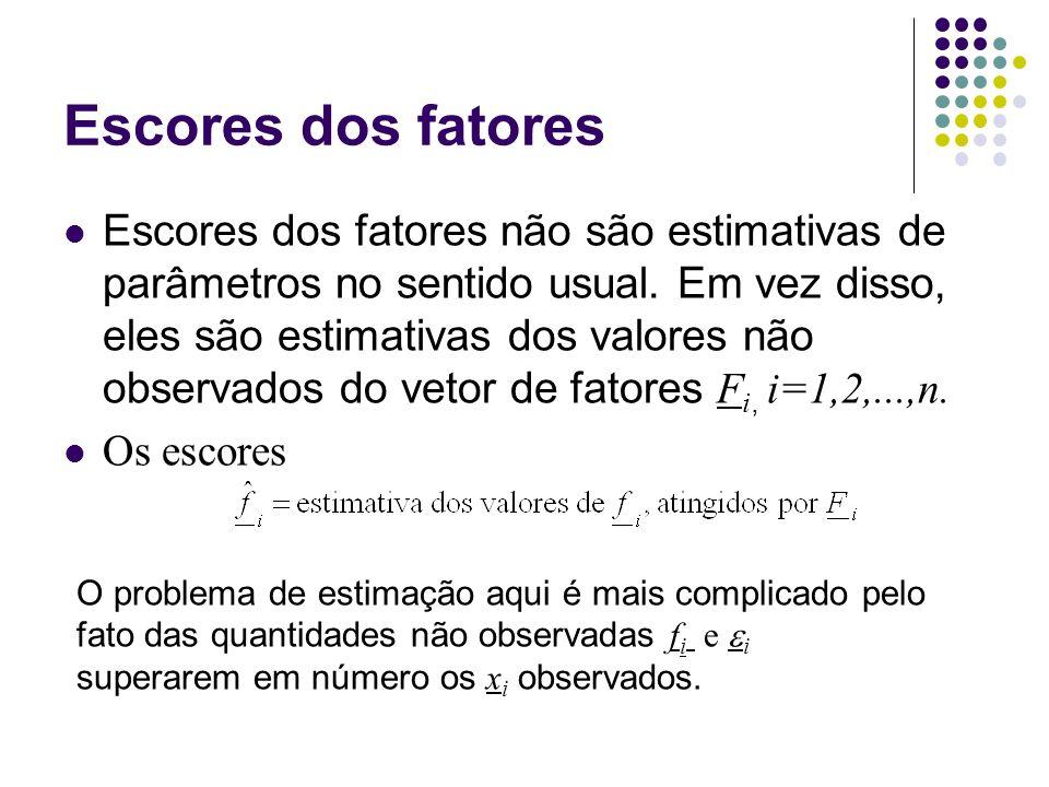 Escores dos fatores Escores dos fatores não são estimativas de parâmetros no sentido usual. Em vez disso, eles são estimativas dos valores não observa