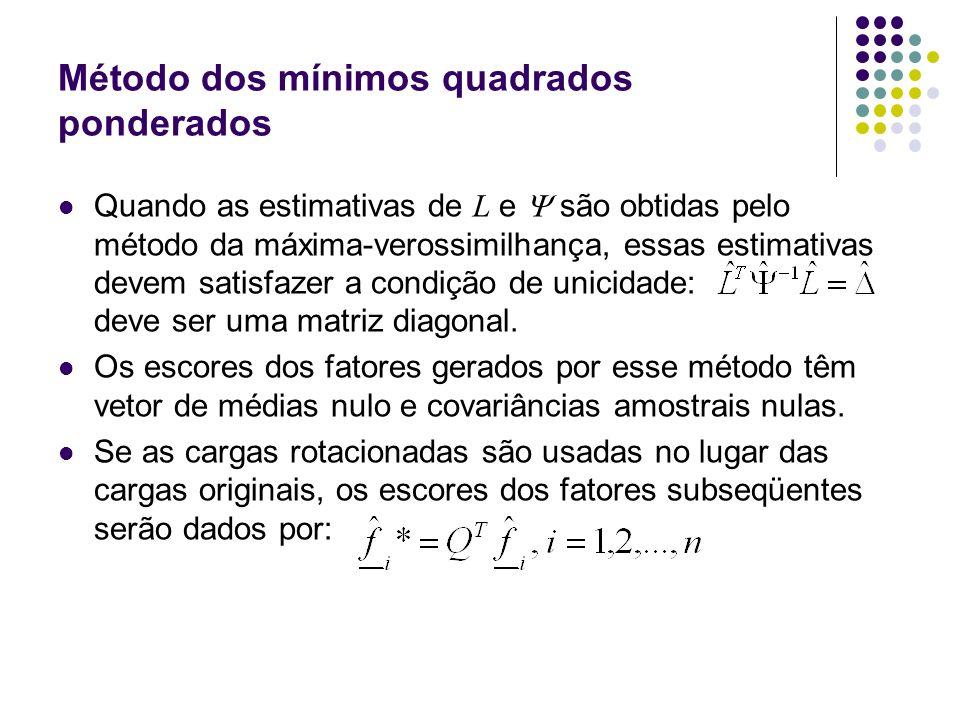 Método dos mínimos quadrados ponderados Quando as estimativas de L e são obtidas pelo método da máxima-verossimilhança, essas estimativas devem satisf