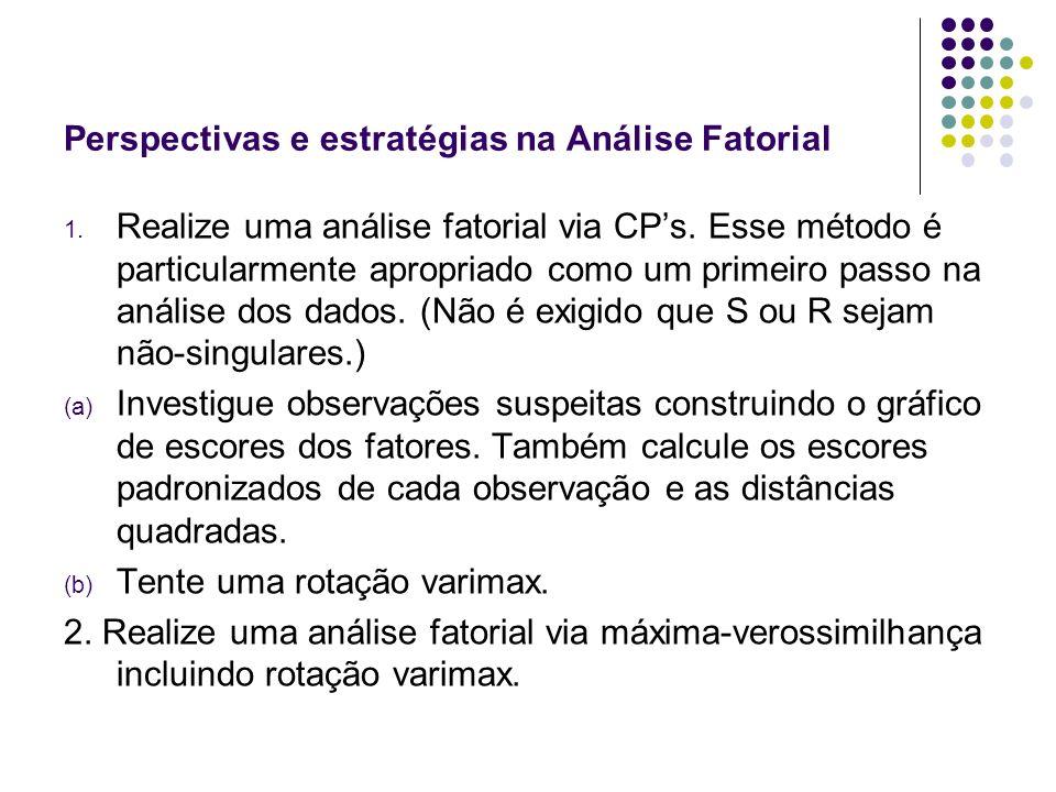 Perspectivas e estratégias na Análise Fatorial 1. Realize uma análise fatorial via CPs. Esse método é particularmente apropriado como um primeiro pass