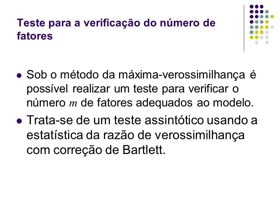 Teste para a verificação do número de fatores Sob o método da máxima-verossimilhança é possível realizar um teste para verificar o número m de fatores
