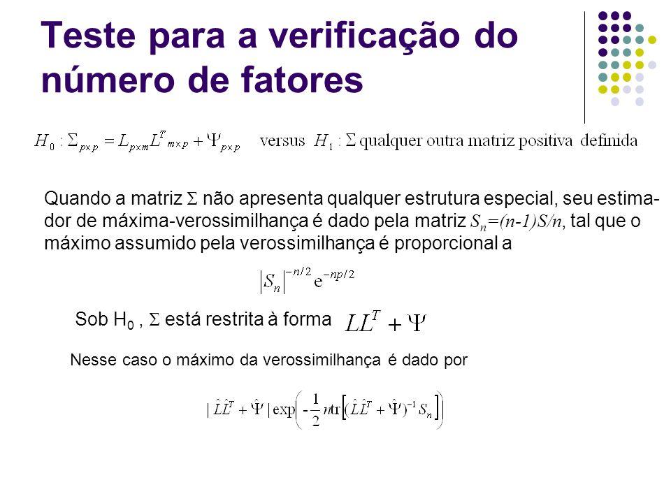Teste para a verificação do número de fatores Quando a matriz não apresenta qualquer estrutura especial, seu estima- dor de máxima-verossimilhança é d