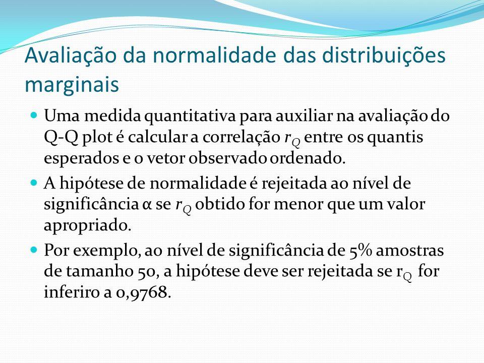 Avaliação da normalidade das distribuições marginais Uma medida quantitativa para auxiliar na avaliação do Q-Q plot é calcular a correlação r Q entre