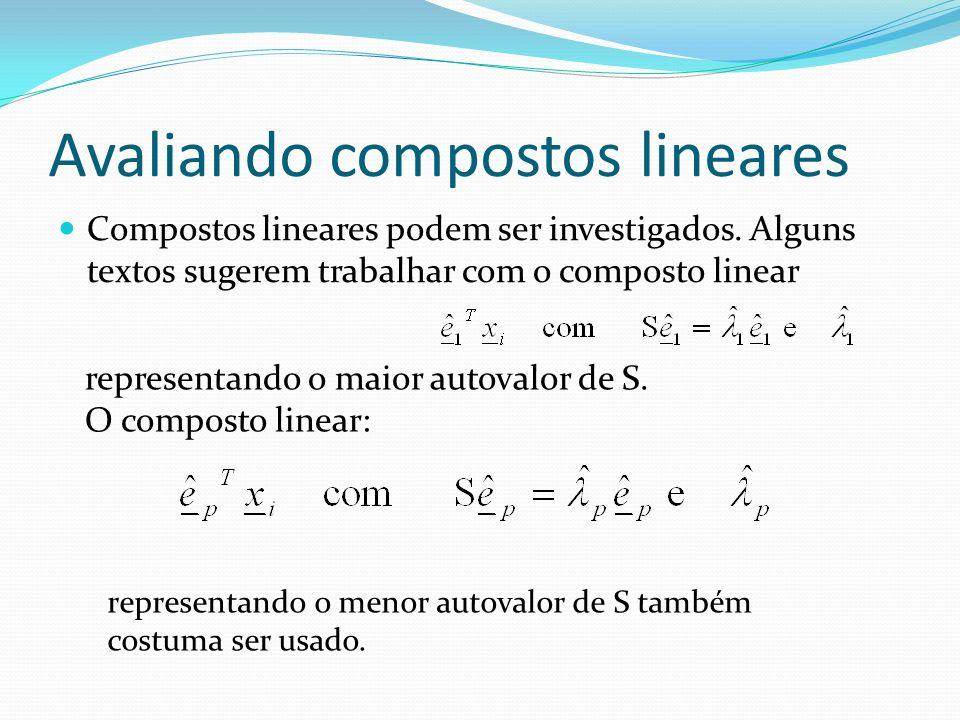 Avaliando compostos lineares Compostos lineares podem ser investigados. Alguns textos sugerem trabalhar com o composto linear representando o maior au