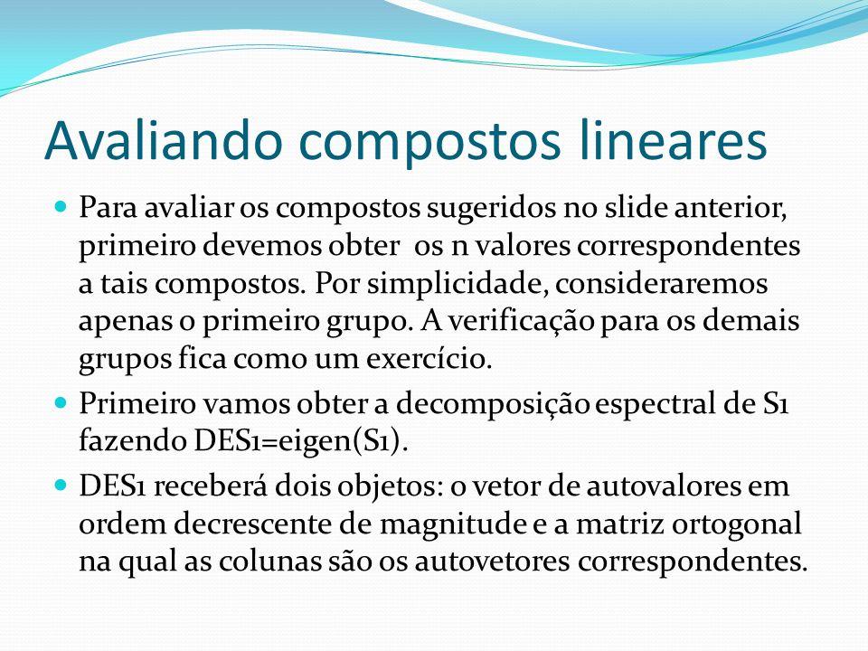 Avaliando compostos lineares Para avaliar os compostos sugeridos no slide anterior, primeiro devemos obter os n valores correspondentes a tais compost