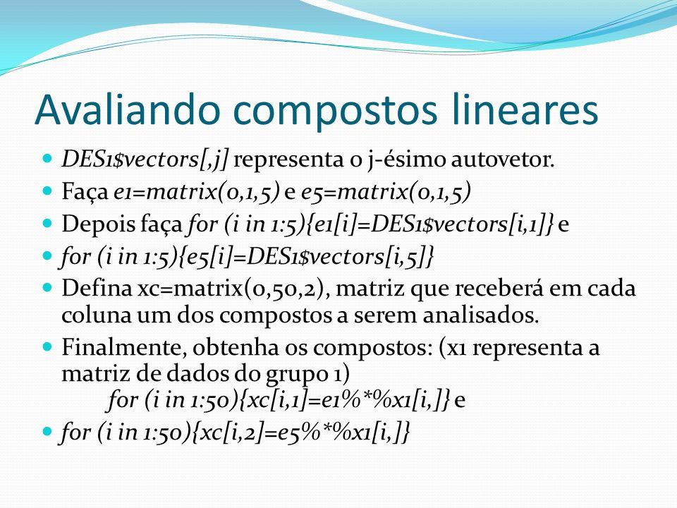 Avaliando compostos lineares DES1$vectors[,j] representa o j-ésimo autovetor. Faça e1=matrix(0,1,5) e e5=matrix(0,1,5) Depois faça for (i in 1:5){e1[i
