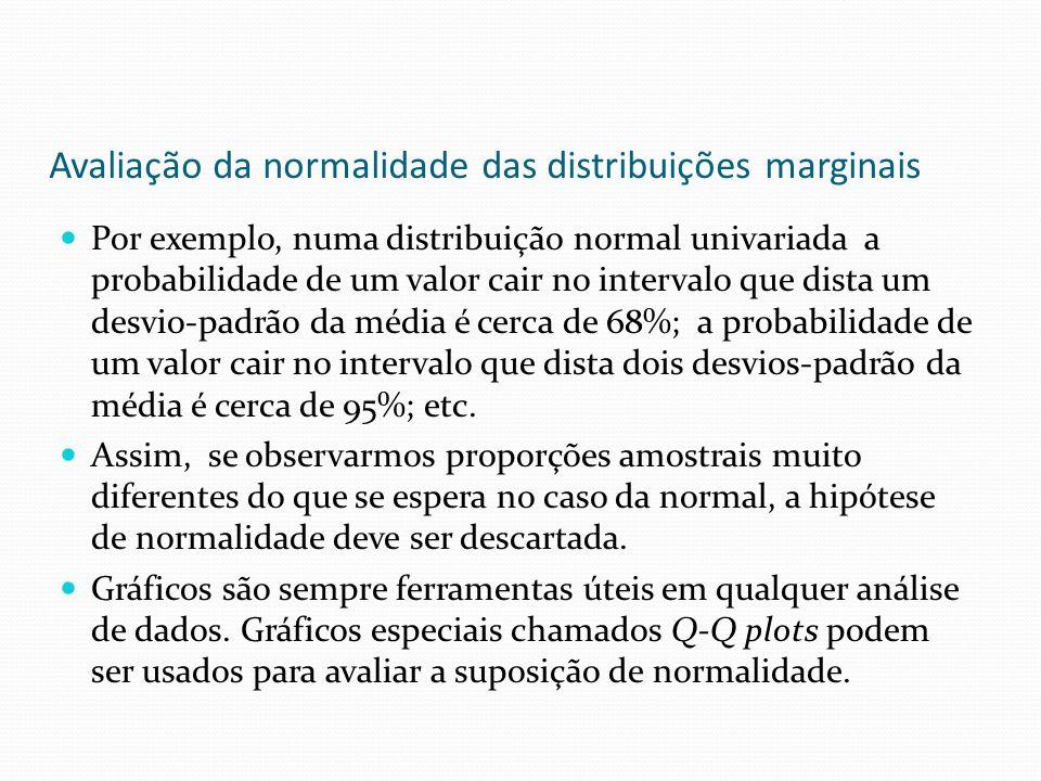 Avaliação da normalidade das distribuições marginais Por exemplo, numa distribuição normal univariada a probabilidade de um valor cair no intervalo qu