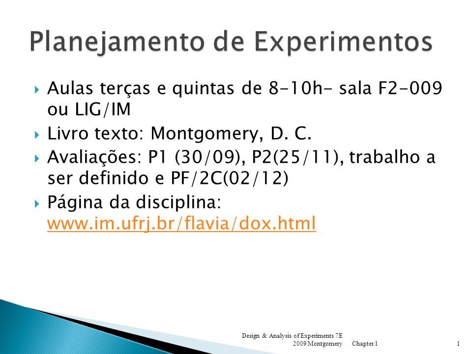 Aulas terças e quintas de 8-10h- sala F2-009 ou LIG/IM Livro texto: Montgomery, D. C. Avaliações: P1 (30/09), P2(25/11), trabalho a ser definido e PF/