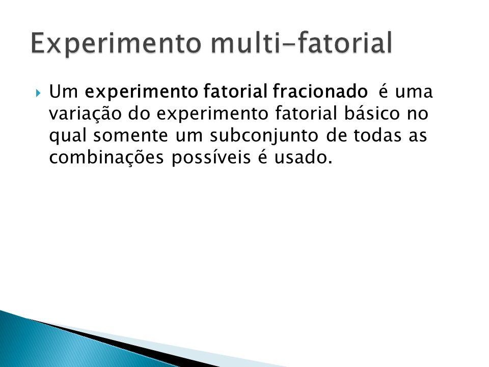 Um experimento fatorial fracionado é uma variação do experimento fatorial básico no qual somente um subconjunto de todas as combinações possíveis é us