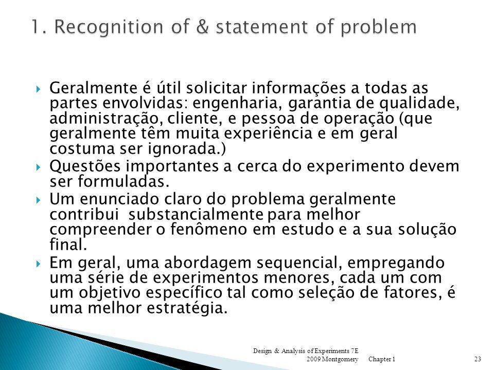 Geralmente é útil solicitar informações a todas as partes envolvidas: engenharia, garantia de qualidade, administração, cliente, e pessoa de operação