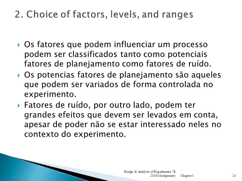 Os fatores que podem influenciar um processo podem ser classificados tanto como potenciais fatores de planejamento como fatores de ruído. Os potencias