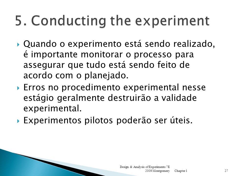 Quando o experimento está sendo realizado, é importante monitorar o processo para assegurar que tudo está sendo feito de acordo com o planejado. Erros