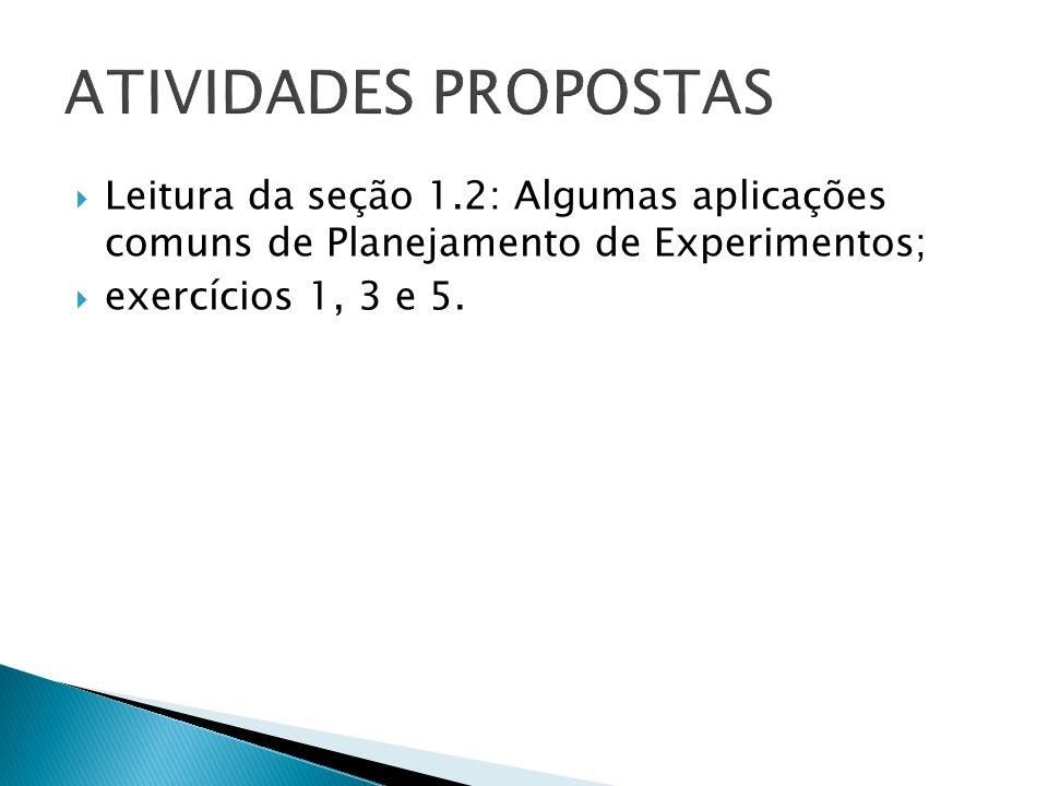 Leitura da seção 1.2: Algumas aplicações comuns de Planejamento de Experimentos; exercícios 1, 3 e 5.