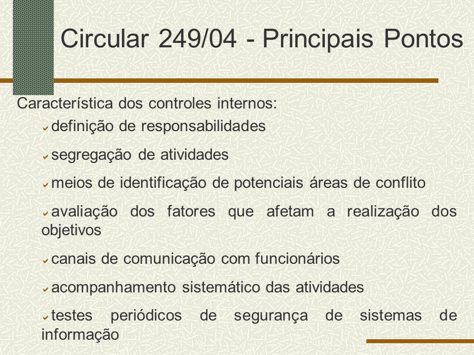 Circular 249/04 - Principais Pontos Característica dos controles internos: definição de responsabilidades segregação de atividades meios de identifica