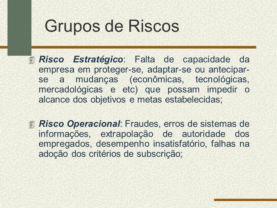 Grupos de Riscos 4 Risco Estratégico: Falta de capacidade da empresa em proteger-se, adaptar-se ou antecipar- se a mudanças (econômicas, tecnológicas,
