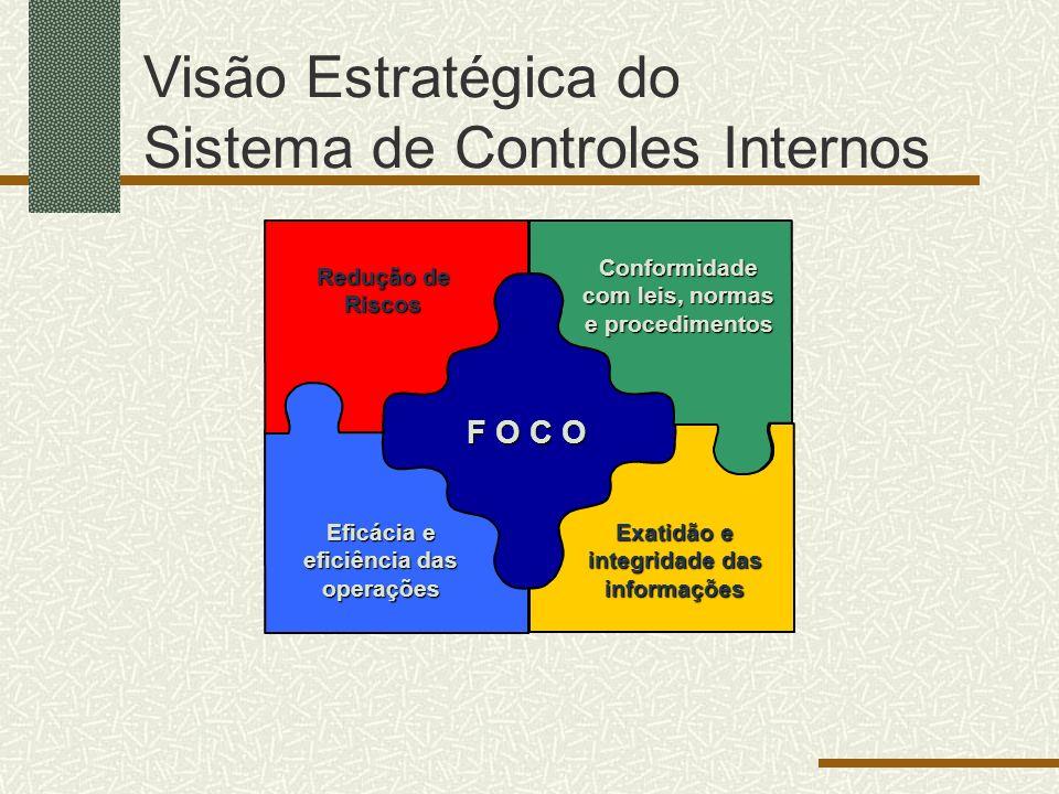 Visão Estratégica do Sistema de Controles Internos Exatidão e integridade das informações Eficácia e eficiência das operações Conformidade com leis, normas e procedimentos Redução de Riscos F O C O