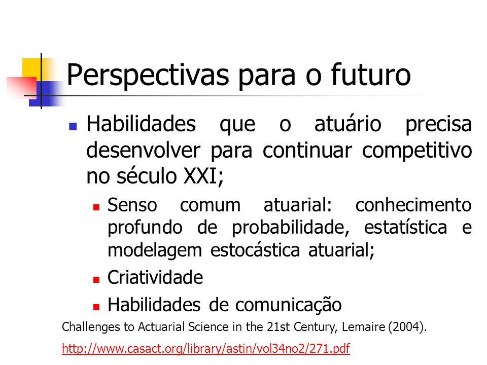 Perspectivas para o futuro Habilidades que o atuário precisa desenvolver para continuar competitivo no século XXI; Senso comum atuarial: conhecimento