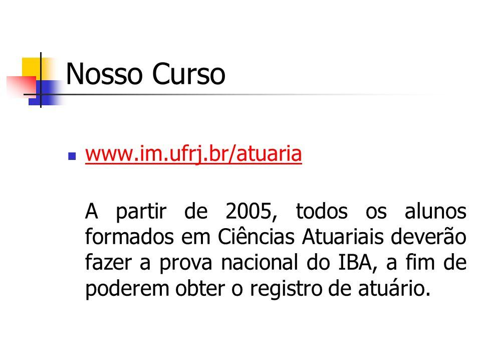Nosso Curso www.im.ufrj.br/atuaria A partir de 2005, todos os alunos formados em Ciências Atuariais deverão fazer a prova nacional do IBA, a fim de po