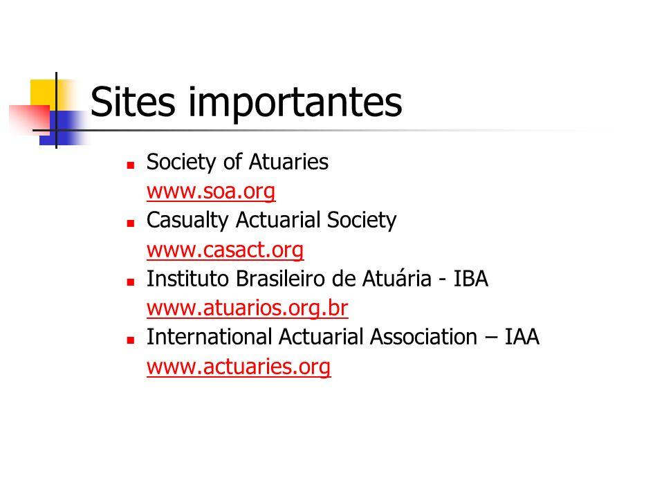 Sites importantes Society of Atuaries www.soa.org Casualty Actuarial Society www.casact.org Instituto Brasileiro de Atuária - IBA www.atuarios.org.br