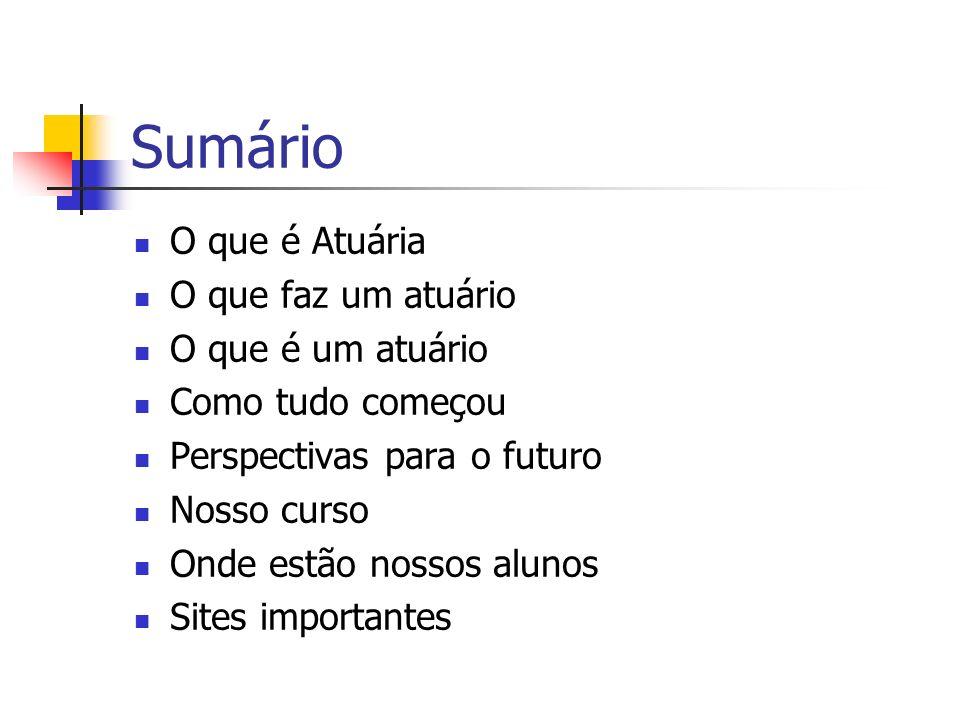 Nosso Curso www.im.ufrj.br/atuaria A partir de 2005, todos os alunos formados em Ciências Atuariais deverão fazer a prova nacional do IBA, a fim de poderem obter o registro de atuário.