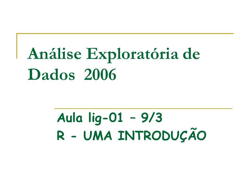 Análise Exploratória de Dados 2006 Aula lig-01 – 9/3 R - UMA INTRODUÇÃO