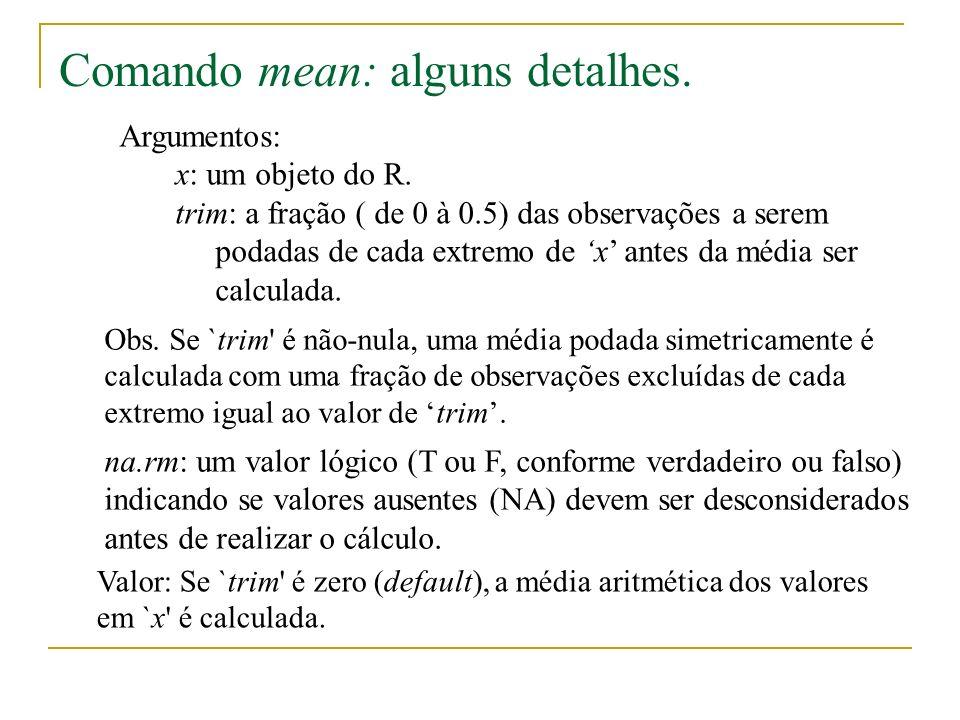 Argumentos: x: um objeto do R.