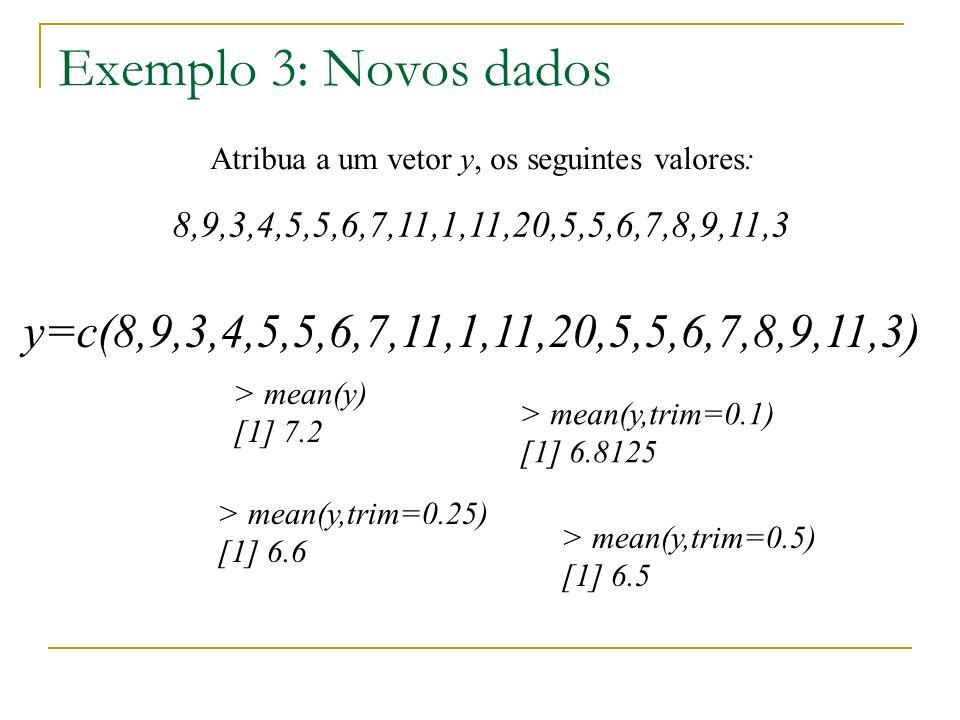 Exemplo 3: Novos dados Atribua a um vetor y, os seguintes valores: 8,9,3,4,5,5,6,7,11,1,11,20,5,5,6,7,8,9,11,3 y=c(8,9,3,4,5,5,6,7,11,1,11,20,5,5,6,7,8,9,11,3) > mean(y) [1] 7.2 > mean(y,trim=0.1) [1] 6.8125 > mean(y,trim=0.25) [1] 6.6 > mean(y,trim=0.5) [1] 6.5