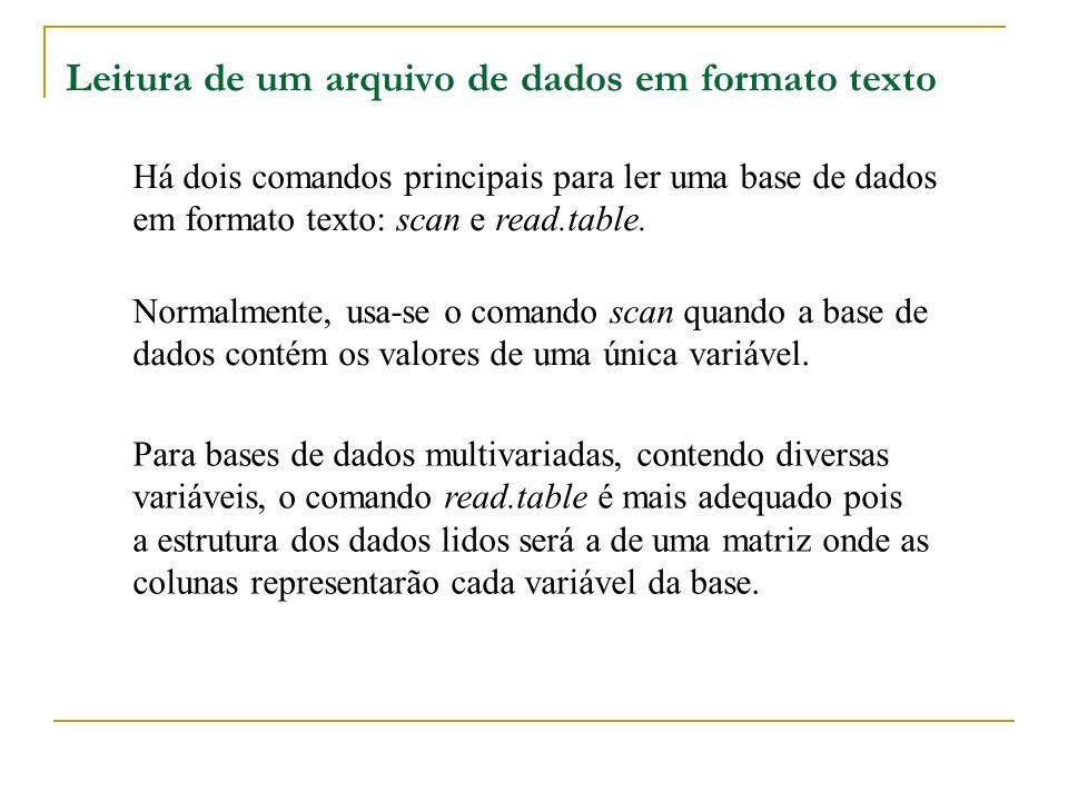 Leitura de um arquivo de dados em formato texto Há dois comandos principais para ler uma base de dados em formato texto: scan e read.table.