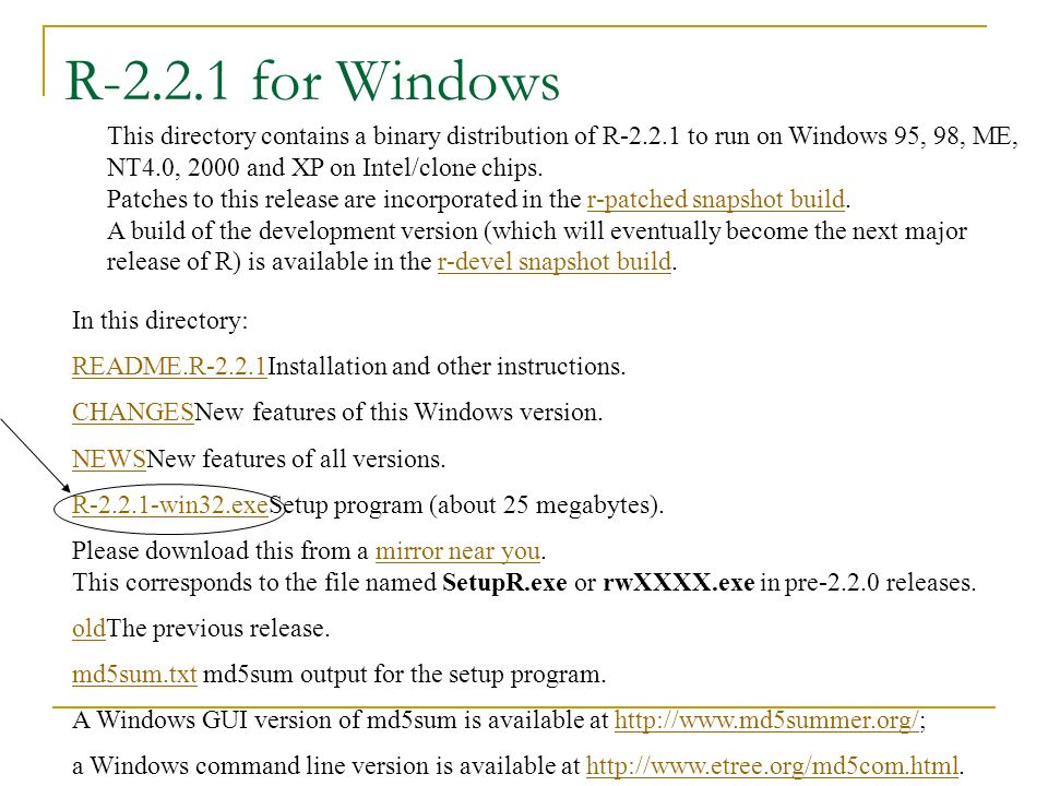 R-2.2.1 for Windows This directory contains a binary distribution of R-2.2.1 to run on Windows 95, 98, ME, NT4.0, 2000 and XP on Intel/clone chips.