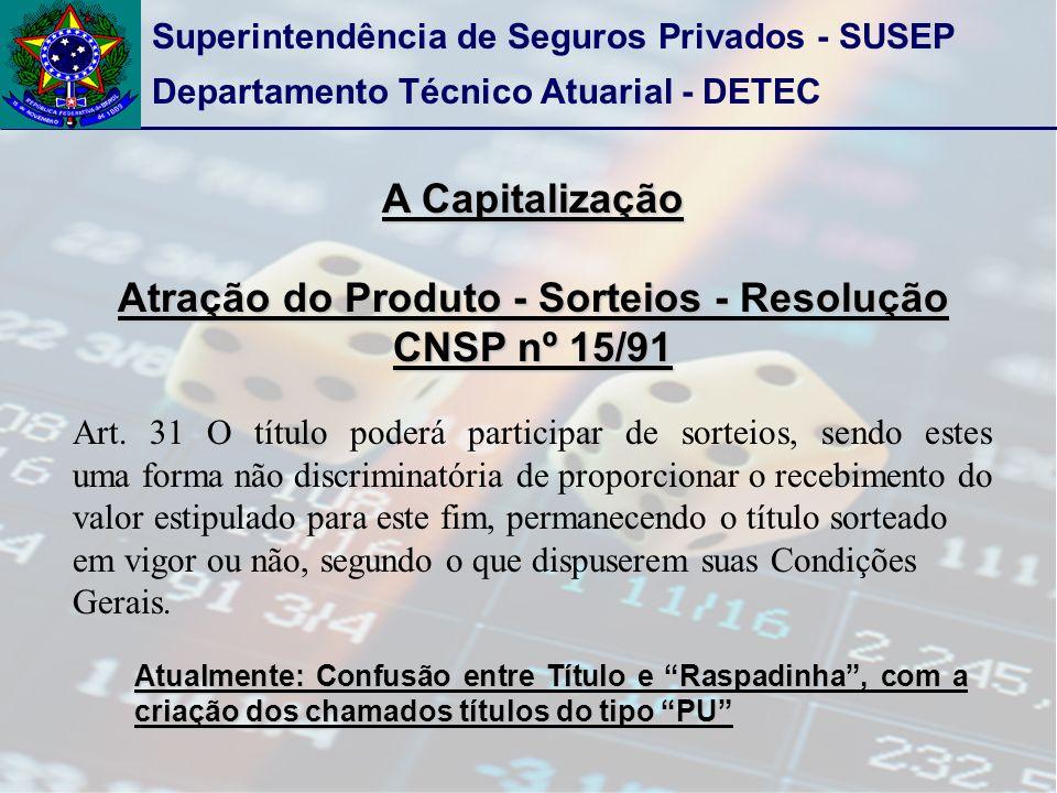 Superintendência de Seguros Privados - SUSEP Departamento Técnico Atuarial - DETEC A Capitalização Atração do Produto - Sorteios - Resolução CNSP nº 15/91 Art.