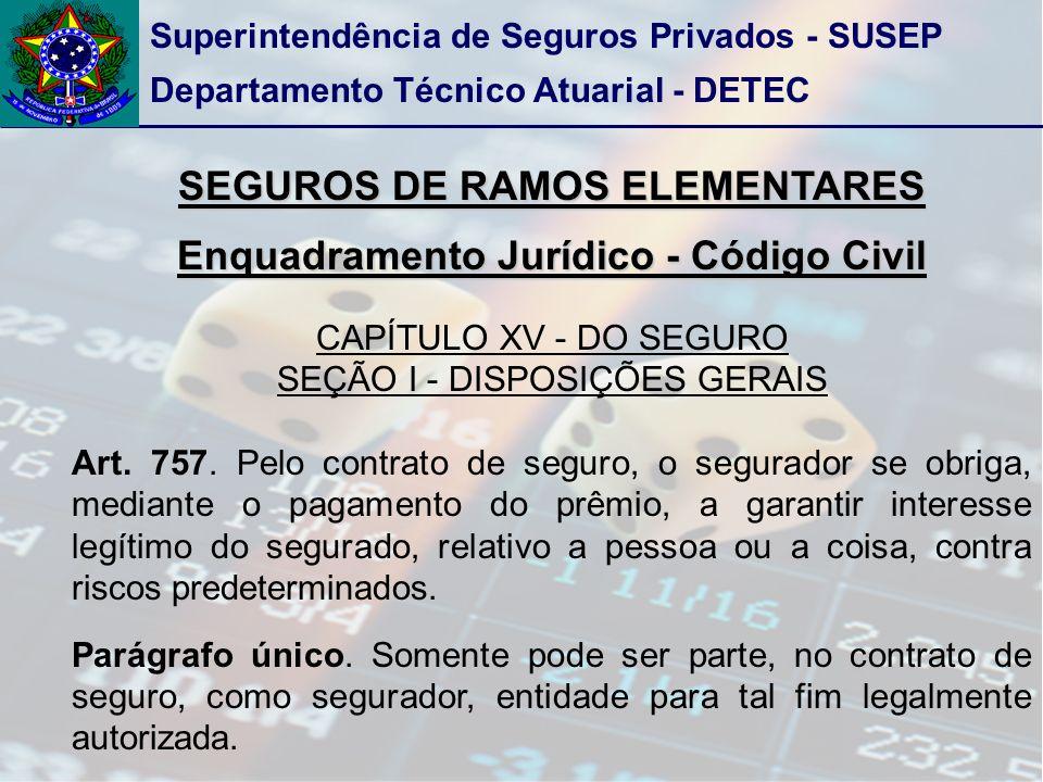 Superintendência de Seguros Privados - SUSEP Departamento Técnico Atuarial - DETEC SEGUROS DE RAMOS ELEMENTARES Enquadramento Jurídico - Código Civil CAPÍTULO XV - DO SEGURO SEÇÃO I - DISPOSIÇÕES GERAIS Art.