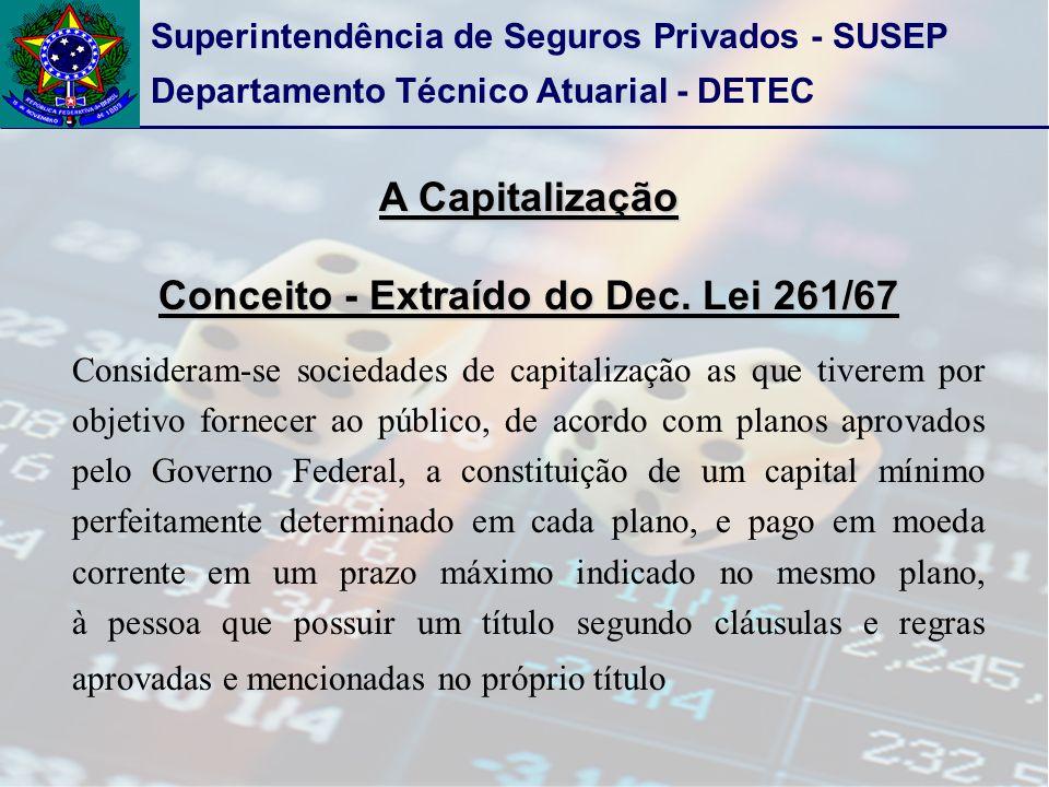 Superintendência de Seguros Privados - SUSEP Departamento Técnico Atuarial - DETEC A Capitalização Conceito - Extraído do Dec. Lei 261/67 Consideram-s