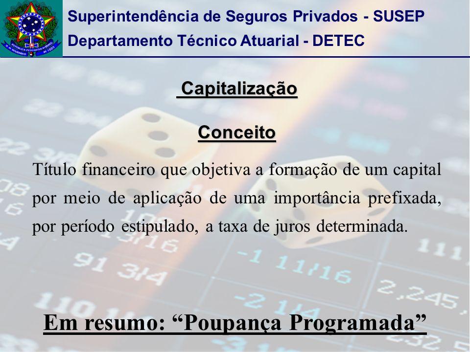 Superintendência de Seguros Privados - SUSEP Departamento Técnico Atuarial - DETEC Capitalização CapitalizaçãoConceito Título financeiro que objetiva