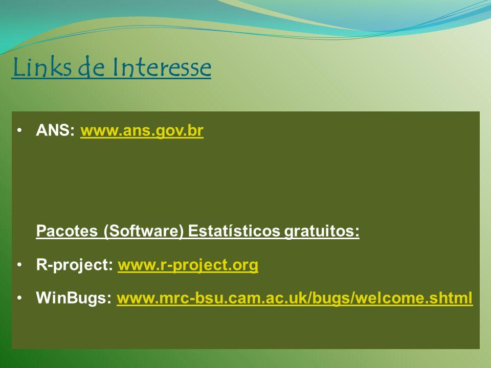 Links de Interesse ANS: www.ans.gov.brwww.ans.gov.br Pacotes (Software) Estatísticos gratuitos: R-project: www.r-project.orgwww.r-project.org WinBugs: