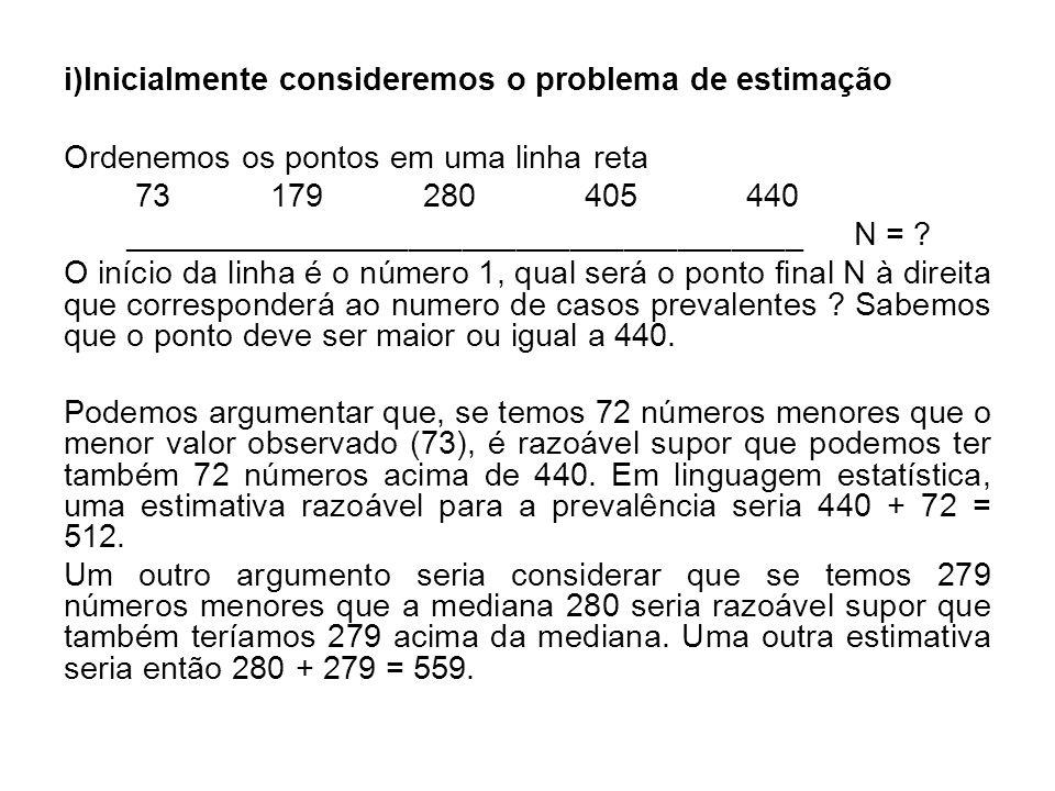 Temos duas estimativas, a primeira 512,denominada estimativa pelo extremo-(ee) e a segunda 559,denominada estimativa pela mediana-(em).