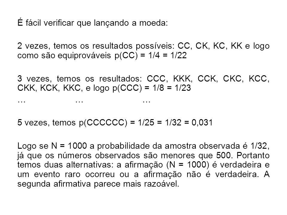iii) Finalmente consideremos estimação por intervalos ou intervalos de confiança Inicialmente observe que na analogia anterior, CCCCC e todos os 5 números são menores que 500 eram equivalentes com probabilidade p(CCCCCC) = 1/32 = 1/25 = 1/2.