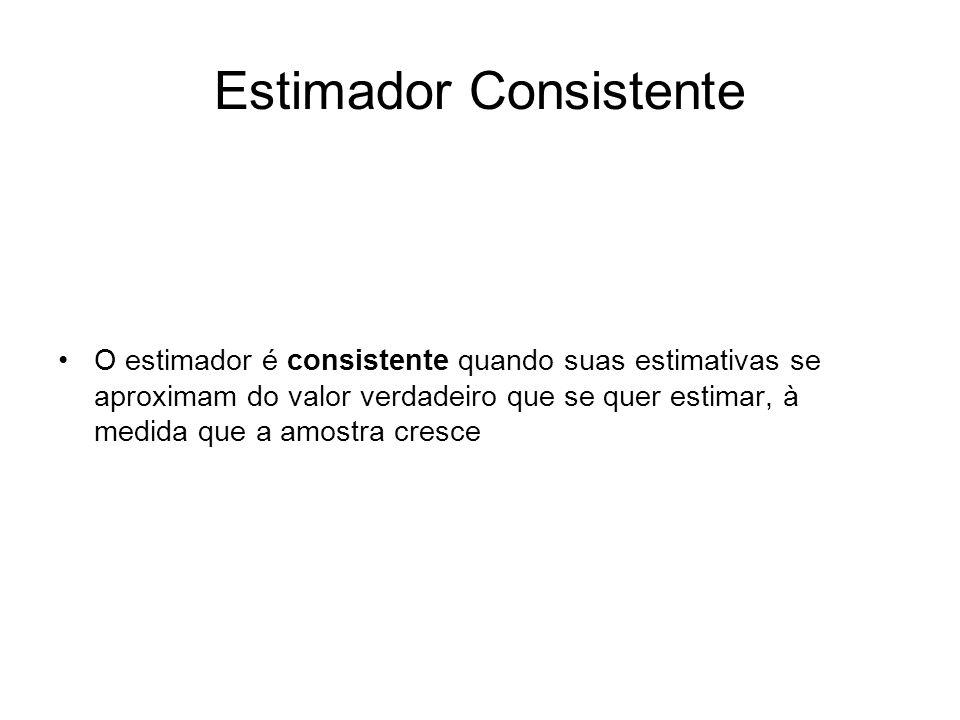 Estimador Eficiente Quando comparamos dois estimadores exatos (sem viés) Um é dito mais eficiente que outro quando seu erro padrão for menor que o erro padrão do outro