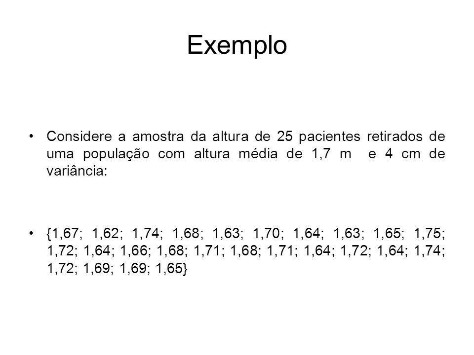 Estimador Neste caso É um estimador preciso pois X=µ=1,7, com erro padrão de: Logo, é um estimador consistente pois quanto maior o N menor o EP