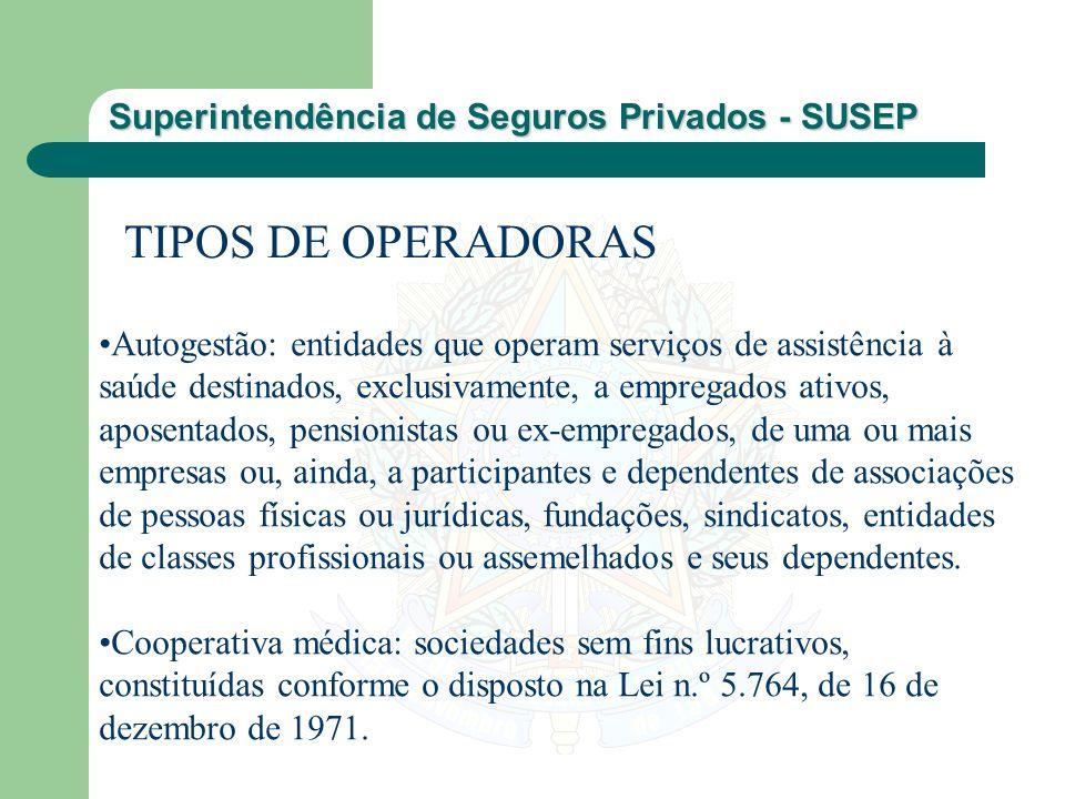 Superintendência de Seguros Privados - SUSEP TIPOS DE OPERADORAS Autogestão: entidades que operam serviços de assistência à saúde destinados, exclusiv