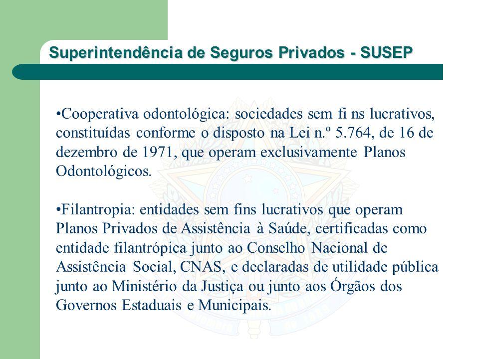 Superintendência de Seguros Privados - SUSEP Cooperativa odontológica: sociedades sem fi ns lucrativos, constituídas conforme o disposto na Lei n.º 5.