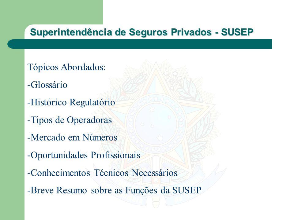 Superintendência de Seguros Privados - SUSEP Tópicos Abordados: -Glossário -Histórico Regulatório -Tipos de Operadoras -Mercado em Números -Oportunida