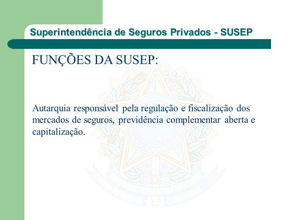 Superintendência de Seguros Privados - SUSEP FUNÇÕES DA SUSEP: Autarquia responsável pela regulação e fiscalização dos mercados de seguros, previdênci