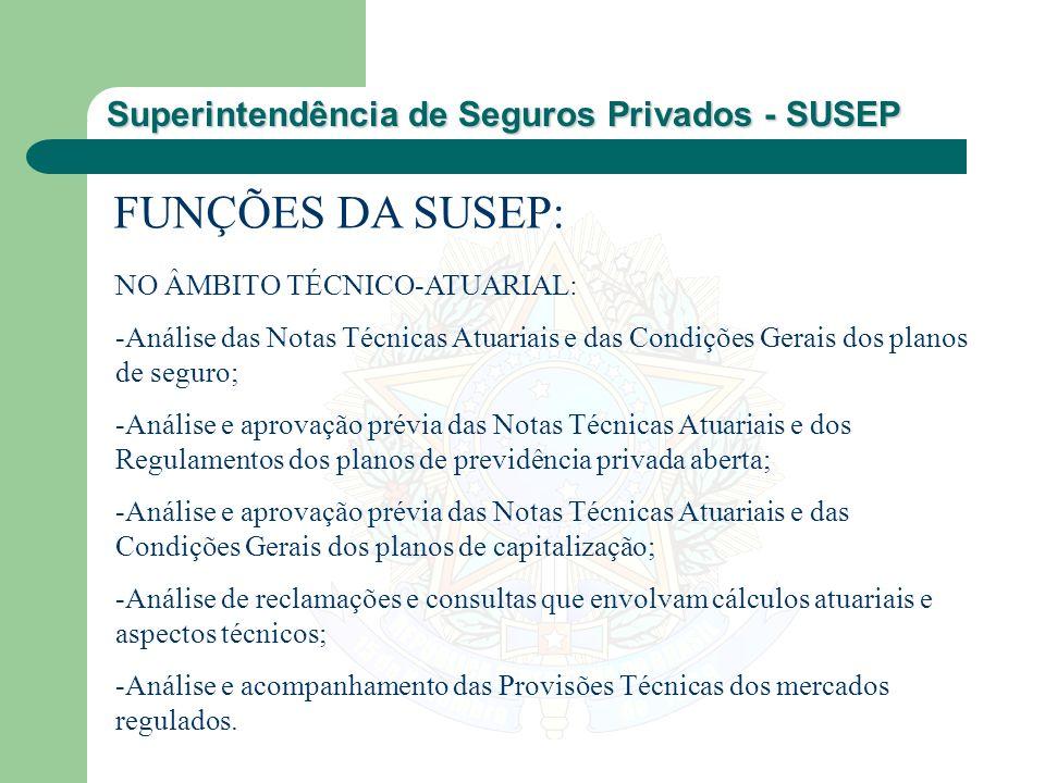 Superintendência de Seguros Privados - SUSEP FUNÇÕES DA SUSEP: NO ÂMBITO TÉCNICO-ATUARIAL: -Análise das Notas Técnicas Atuariais e das Condições Gerai