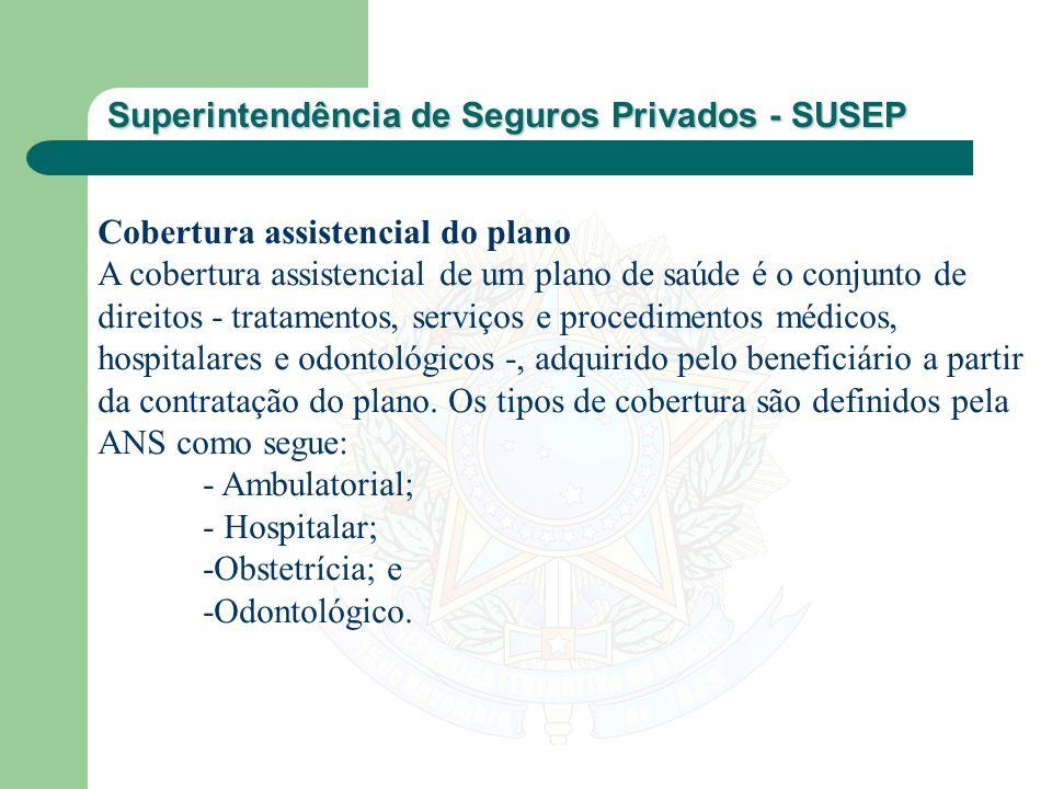 Superintendência de Seguros Privados - SUSEP Cobertura assistencial do plano A cobertura assistencial de um plano de saúde é o conjunto de direitos -