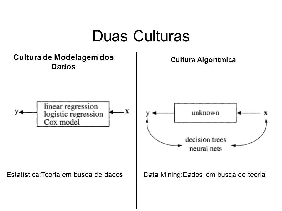 Duas Culturas Cultura de Modelagem dos Dados Cultura Algorítmica Estatística:Teoria em busca de dadosData Mining:Dados em busca de teoria